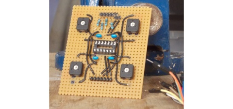 Component side of light-sensor amplifier board (before plugging IC in)